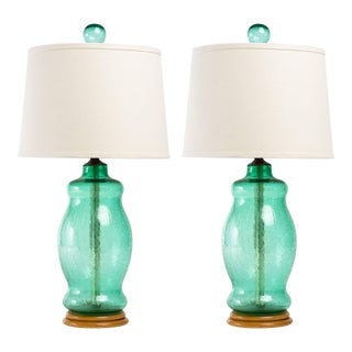 Blenko 1950s Green Crackle Glass Lamps - a Pair For Sale