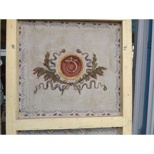 Pair of Antique Painted Canvas Window Panels For Sale In West Palm - Image 6 of 13