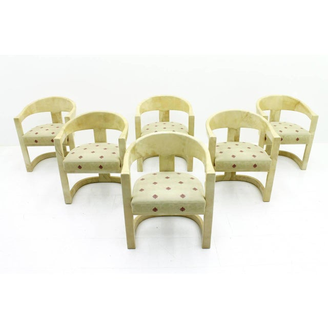 Set of Six Karl Springer Onassis Chairs, Goatskin, 1980s For Sale - Image 10 of 10