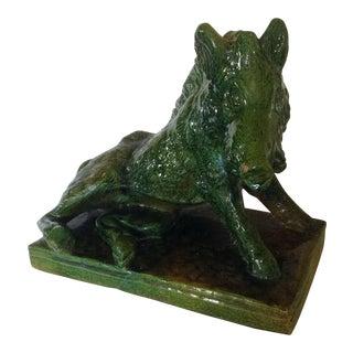Large Majolica Green Boar For Sale