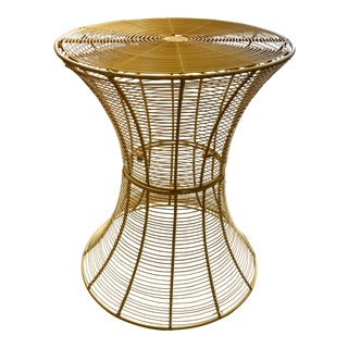Modern Yellow Metal Plant Stand/Accent Table For Sale