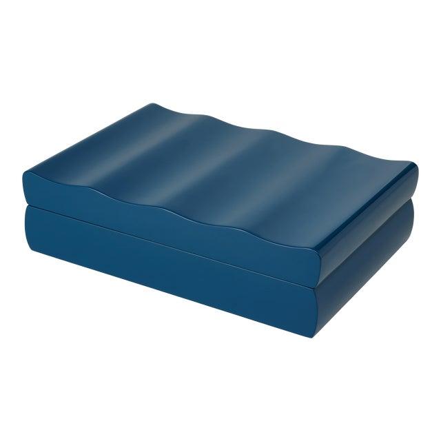 Denston Box in Indigo Blue - Veere Grenney for The Lacquer Company For Sale