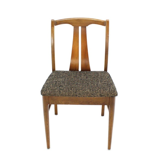 Wood Six Mid-Century Modern Walnut Dining Chairs New Upholstery For Sale - Image 7 of 10