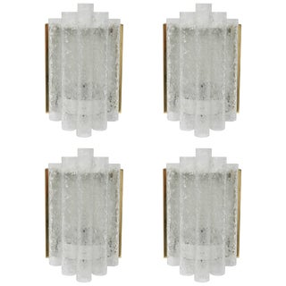 """1960s Brass and """"Ice Glass"""" Wall Sconces by Doria Leuchten - Set of 4 For Sale"""