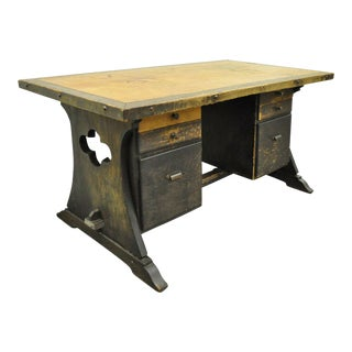 Arts & Crafts Wooden Kneehole Desk Six-Drawer Work Stand Table For Sale