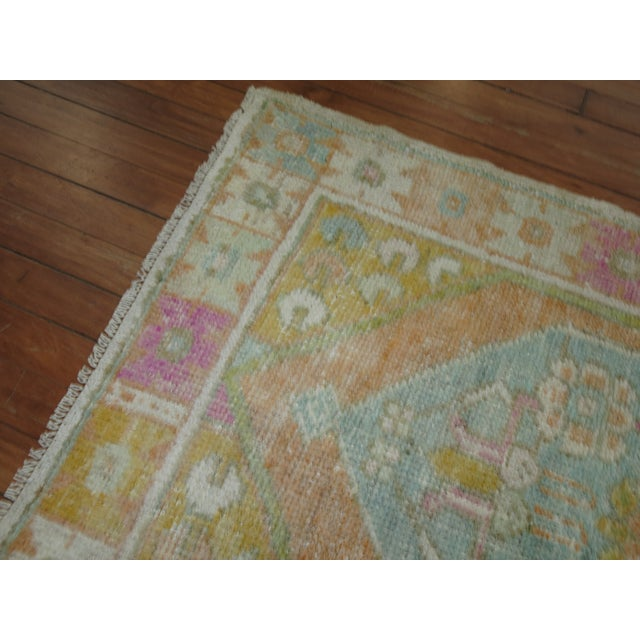 One of a Kind Vintage Turkish Anatolian Rug in pastel colors, circa mid 20th century.