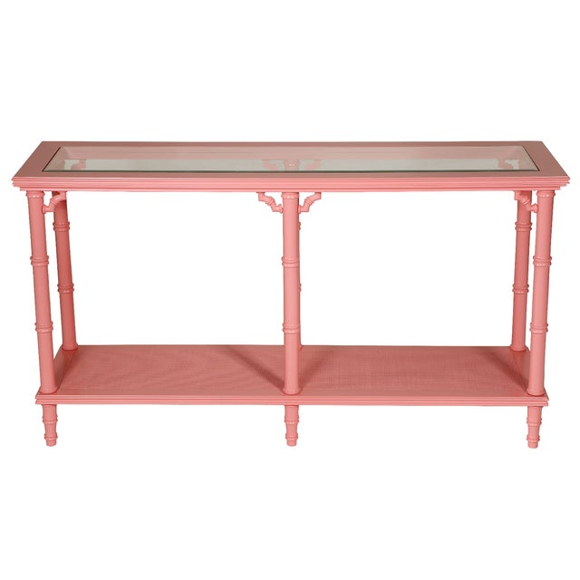 Faux Bamboo Pink Lacquer Console Table - Image 1 of 3