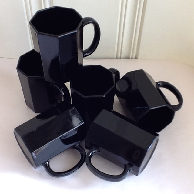 Ebony Ceramic French Mugs - Set of 6 For Sale - Image 7 of 11