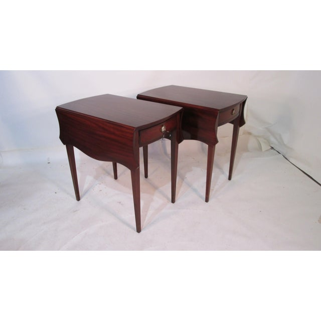 Brown Mahogany Pembroke Tables - A Pair For Sale - Image 8 of 11