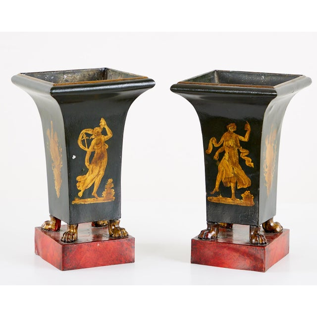 French Neoclassical Directoire Style Tole Vases - a Pair For Sale - Image 12 of 13
