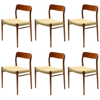 Niels O. Møller Set of Six Model 75 Chairs For Sale