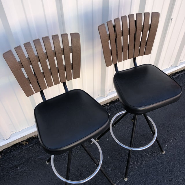 Mid-Century Modern Swivel Bar Stools- A Pair For Sale - Image 4 of 11