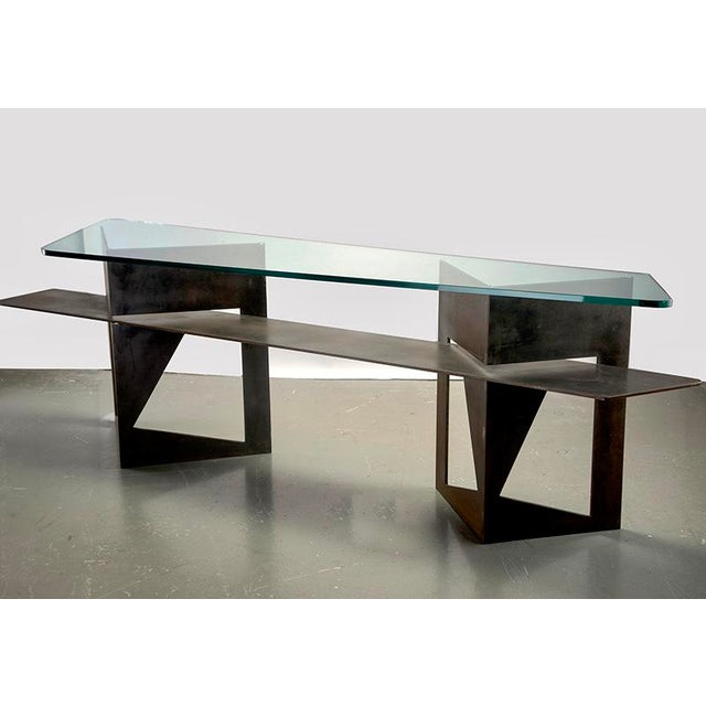Extra Large Brutalist Console with Iron Base and Glass Top For Sale - Image 9 of 9