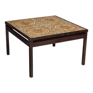 Mid Century Danish Rosewood and Tile Coffee Table For Sale