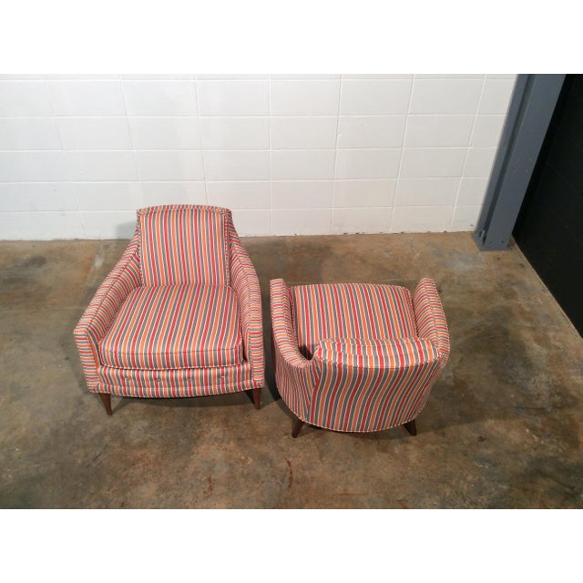 Orange Mid Century Low Back Lounge Chairs - a Pair For Sale - Image 8 of 11
