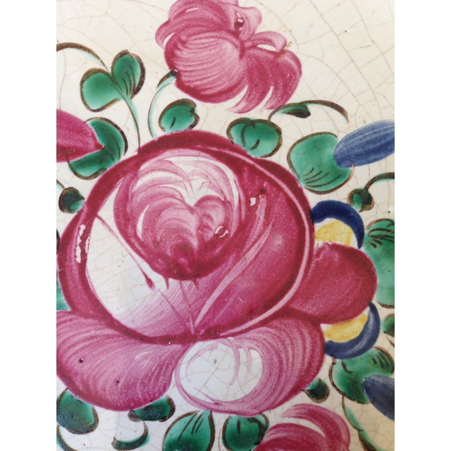 French Hand Painted Flower Faience Wall Plaque - Image 4 of 9