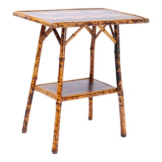 Antique Bamboo Occasional Table with Horse Motif For Sale