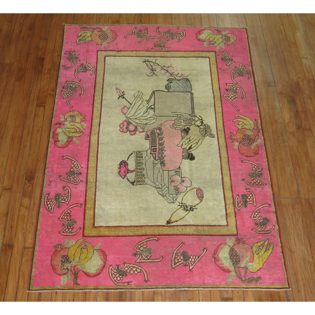Asian Bright Pink Boho Chic 19th Century Khotan Rug, 4'6'' x 6'10'' For Sale - Image 3 of 9