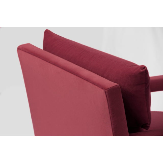 Milo Baughman 1970s Style Contemporary Parson's Chairs After Milo Baughman in Pink Velvet - a Pair For Sale - Image 4 of 5