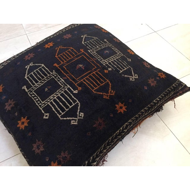 Handmade Antique Collectible Afghan Baluch Saddle Bag Tribal Large Floor Cushion For Sale In Los Angeles - Image 6 of 13