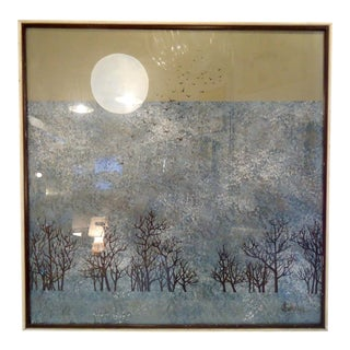 Vintage Painting of Moon and Forest For Sale