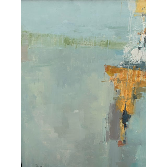 Canvas Original Abstract Oil on Canvas in Floating Silver Gilt Frame For Sale - Image 7 of 12