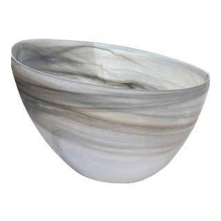 2010's Marbled Glass Large Serving Bowl For Sale
