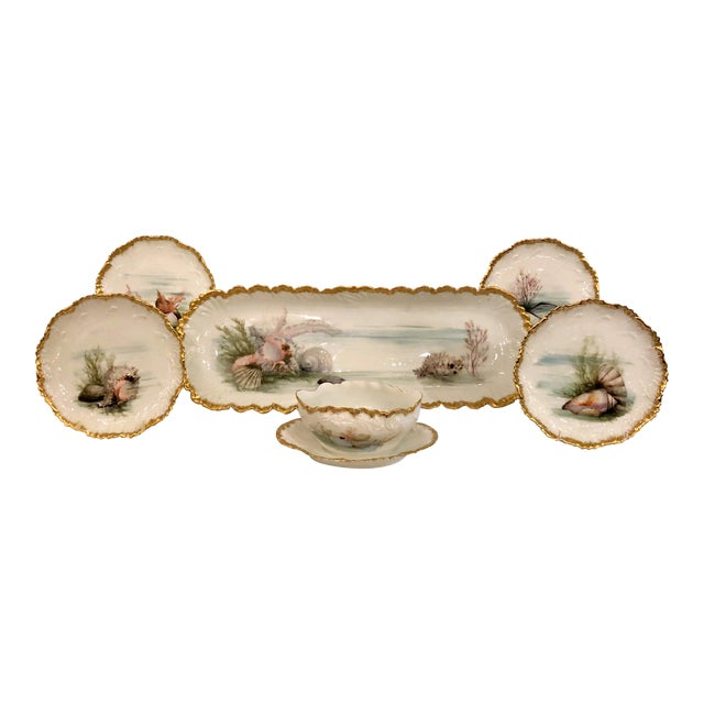 Antique French Limoges Porcelain Fish Service of 12 Plates, 1 Platter and 1 Sauce Bowl. For Sale