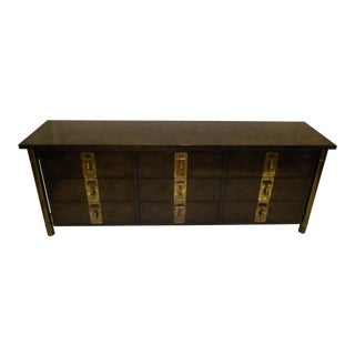 1970s William Doezema for Mastercraft Burl Elm Nine-Drawer Dresser For Sale