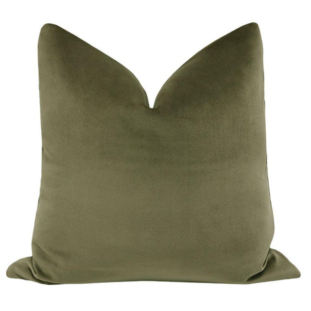 Beautiful pair of custom-made 100% cotton velvet designer pillows in a saturated green colorway. Meticulously handcrafted...