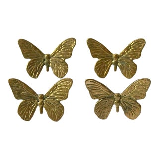 Vintage Mid-Century Brass Butterfly Napkin Rings - Set of 4 For Sale