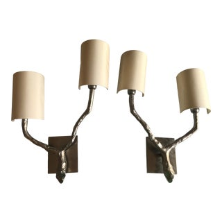 Nickel Plated Vaughan Twig Double Sconces With Shades - a Pair For Sale