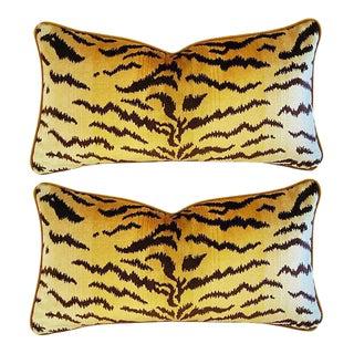 "Designer Italian Scalamandré Le Tigre (Tiger) & Mohair Pillows 24"" X 13"" - Pair For Sale"
