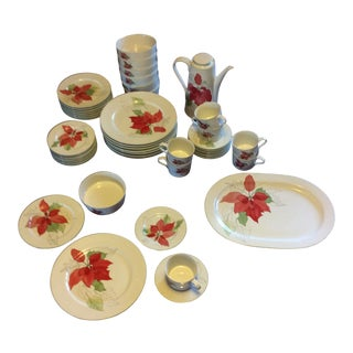 Block Spal Dinnerware Holiday Watercolor Poinsetta by Mary Lou Goertzen For Sale