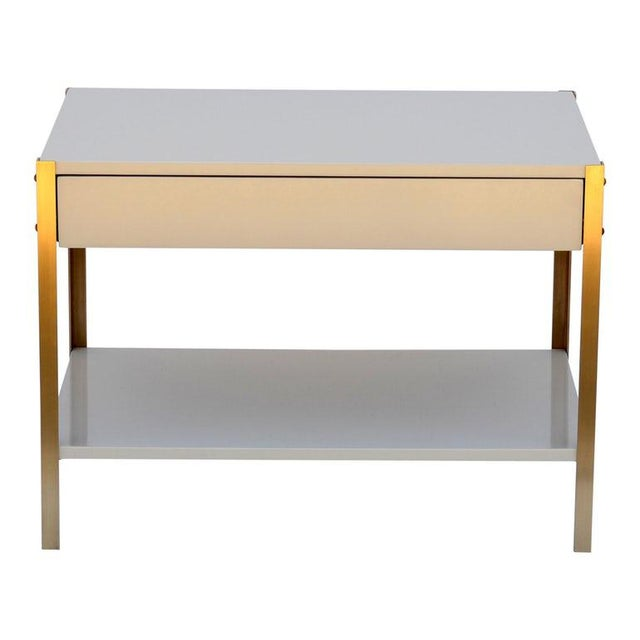 The 'Laque' Ivory Lacquer and Brass Night Stand For Sale In Los Angeles - Image 6 of 6