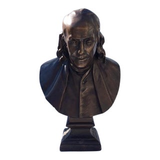 Early 20th Century Large Ben Franklin Plaster Bust For Sale