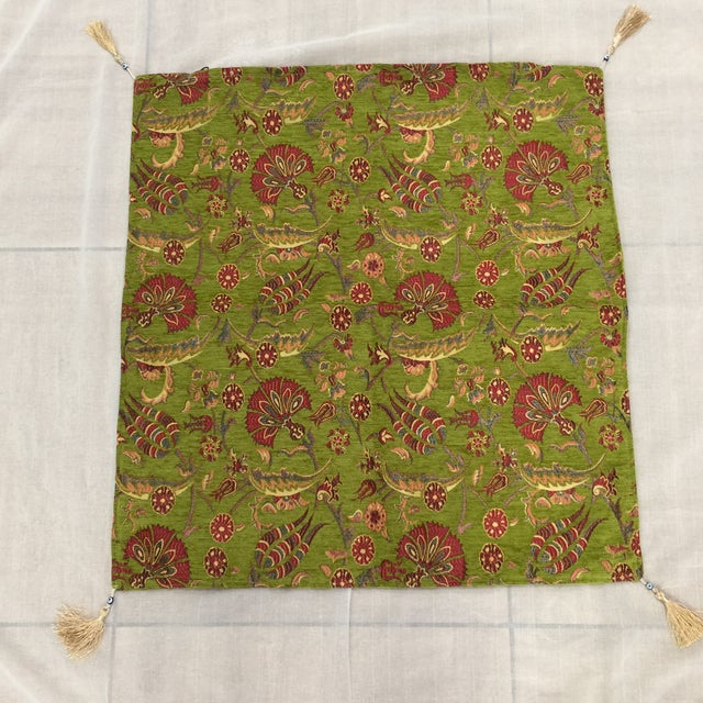 Modern Authentic Kilim Motif Green Pillow Cover For Sale In Chicago - Image 6 of 7