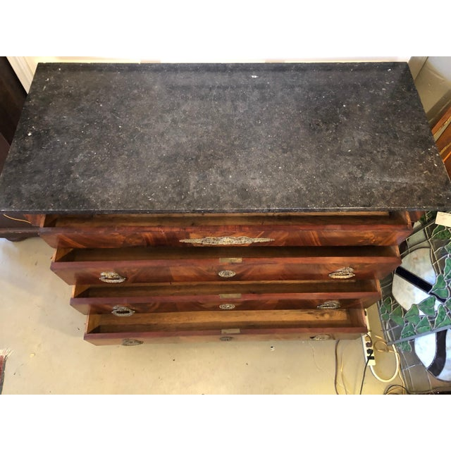 Empire 19th Century French Flame Mahogany Chest of Drawers With Bronze Ormolu For Sale - Image 3 of 11