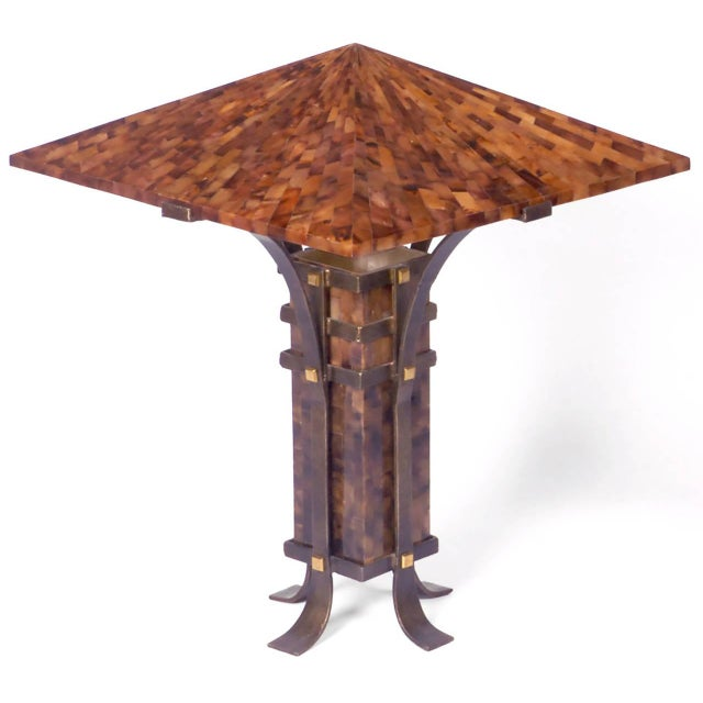 Pair of Maitland Smith Tessellated Horn and Iron Table Lamps - Image 2 of 5