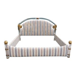 1980s Hollywood Regency Lucite and Brass King Bedframe For Sale