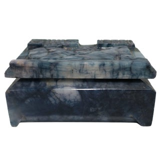 Blue and White Marble Carved Box For Sale