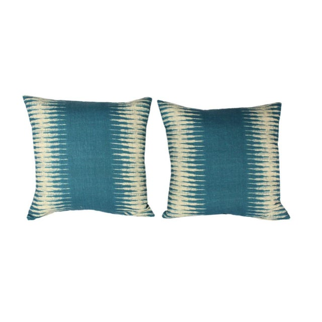 Contemporary Peter Dunham Ikat Pillow Pair For Sale - Image 3 of 7
