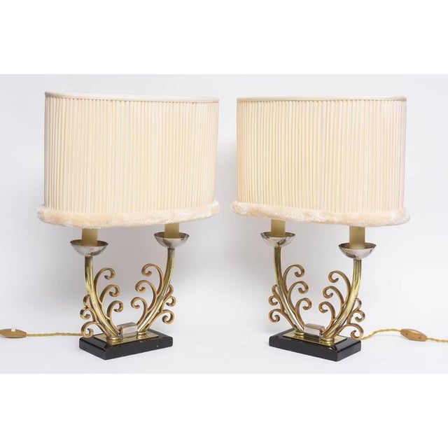 Brass Pair of Art Deco Table Lamps in Brass and Silver with Shades, France, 1920s For Sale - Image 7 of 9
