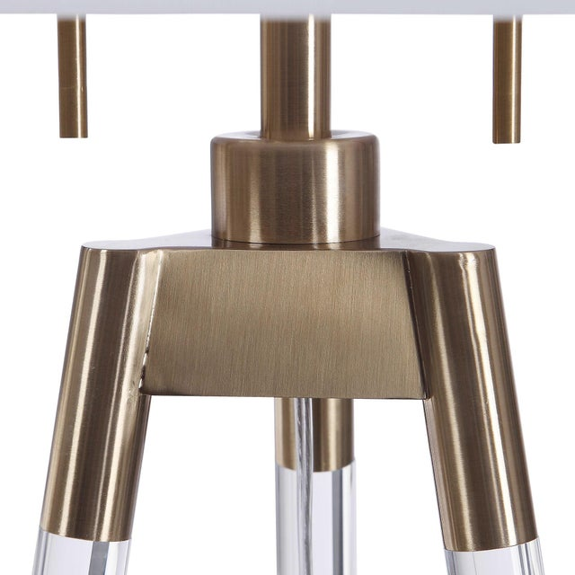 Contemporary Lucite and Brass Tripod-Style Floor Lamp with White Shade For Sale - Image 3 of 8