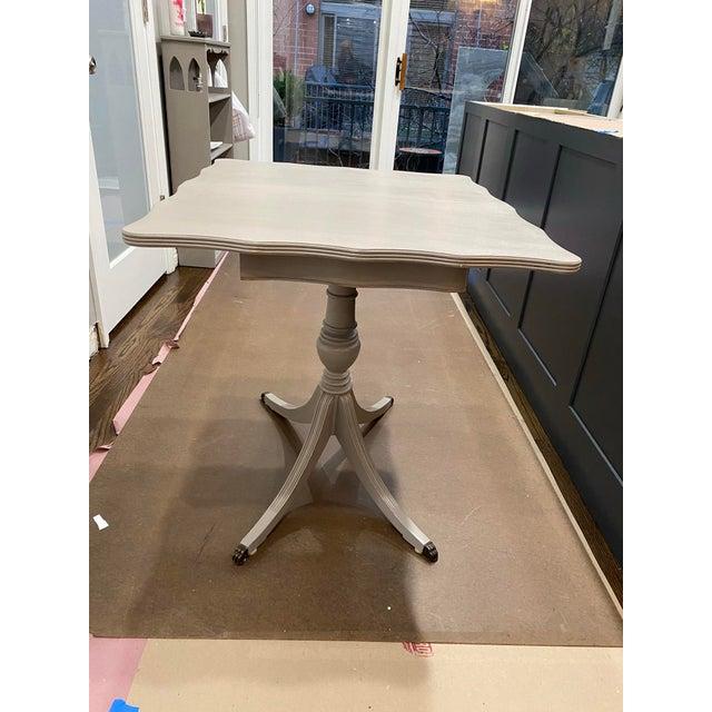 Rustic Vintage Traditional Flip Top Pedestal Table For Sale - Image 3 of 13