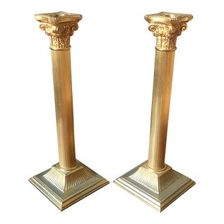 24kt Gold Plated Column Candle Holders- a Pair