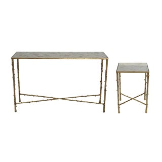 Glostrup Modern Mirror Top Side & Console Tables - a Pair For Sale