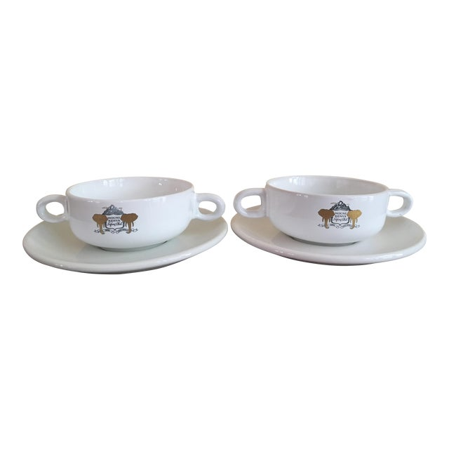 Mount Kenya Safari Club Soup Bowls With Saucers - A Pair - Image 1 of 5