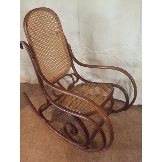 Brown 1960s Vintage Thonet Style Bentwood Rocking Chair For Sale - Image 8 of 12