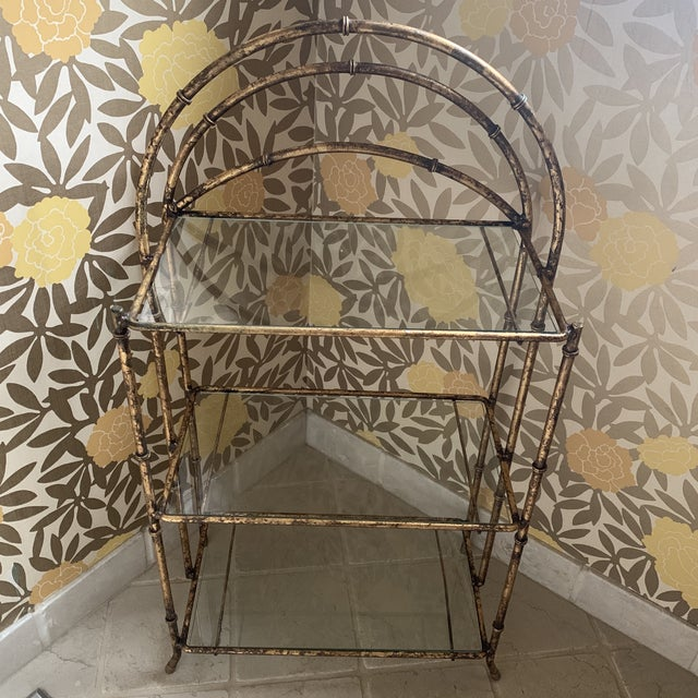 1990s Gilt Metal Faux Bamboo Etagere For Sale - Image 5 of 12